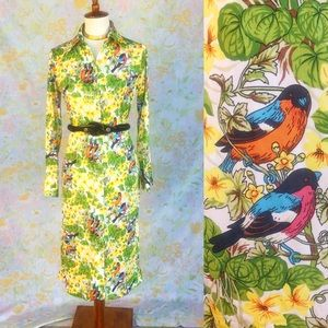 True Vintage🐥70s Garden Novelty Print Midi Dress!